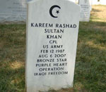 Arlington National Cemetery tombstone of Muslim American soldier Kareem Rashad Sultan Khan