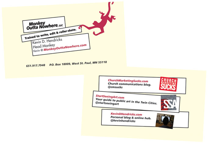 Business cards for people with multiple hats kevin d hendricks my new company business cards reheart Image collections