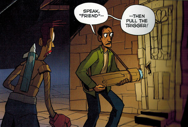 "Cardboard by Doug TenNapel: ""Speak 'Friend'--then pull the trigger!"""