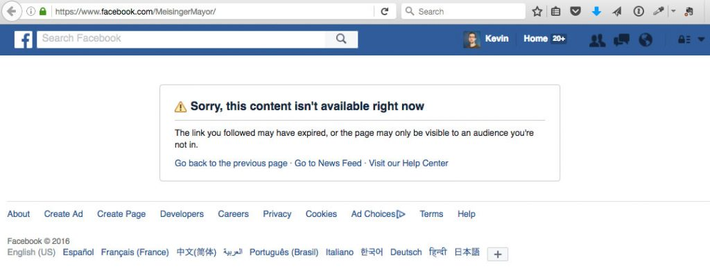 "David Meisinger's Facebook page as of Nov. 7, 2016: ""Sorry, this content isn't available right now."""