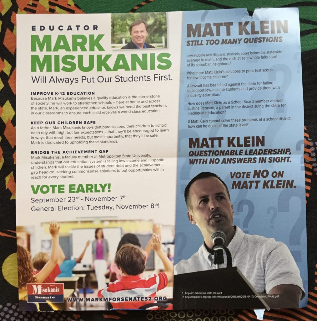 Mark Misukanis education mailer attacking Matt Klein