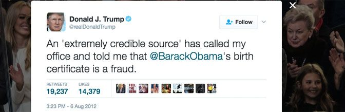 One of Donald Trump's many birther tweets from 2012.
