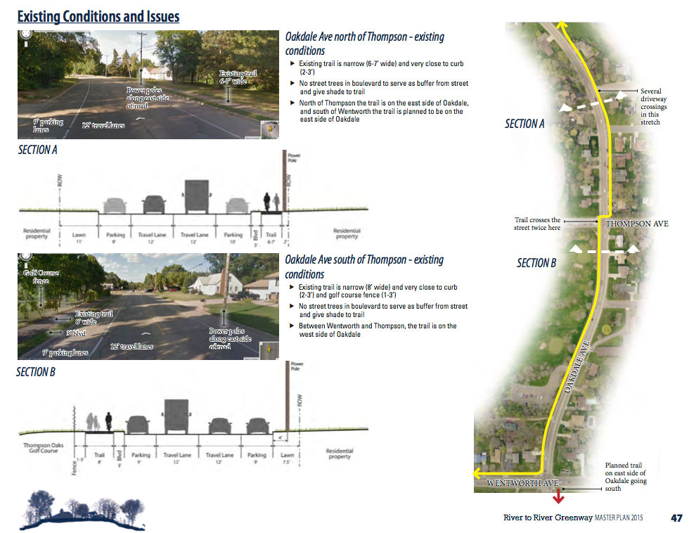 How the River-to-River Greenway trail alignment works on Oakdale Avenue