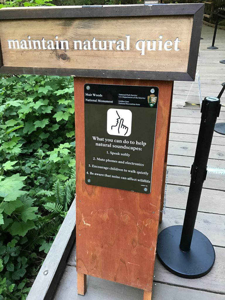 """Maintain natural quiet"" sign at Muir Woods"