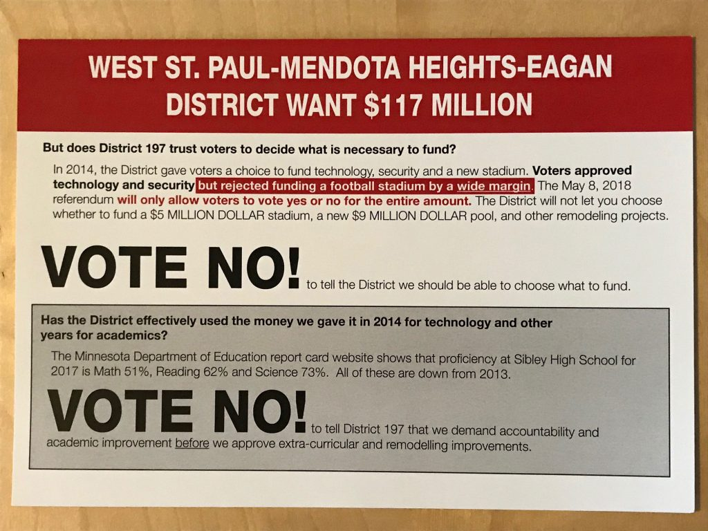 Vote no mailer (front)
