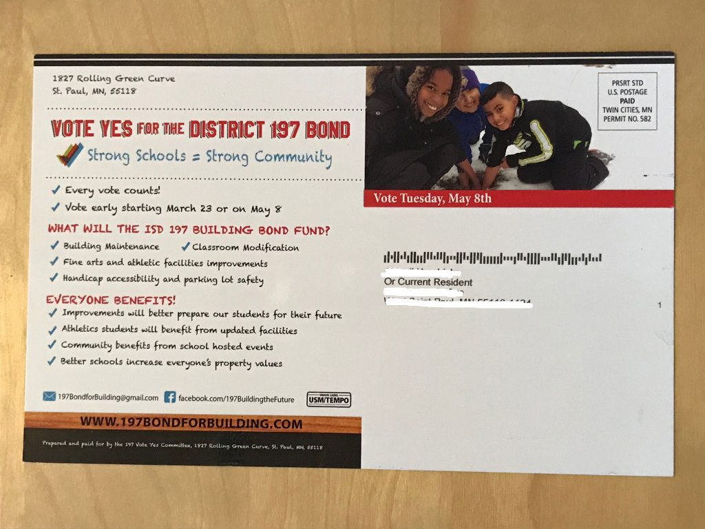 Vote Yes mailer (back)