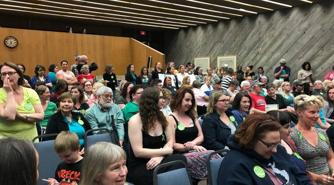 Women filling the West St. Paul City Council chamber