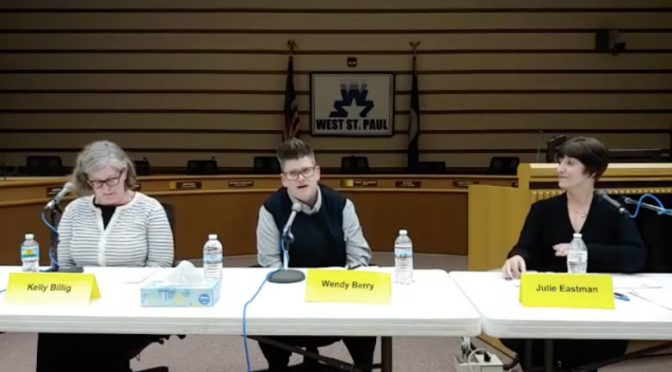Wendy Berry at the Women of West St. Paul candidate forum