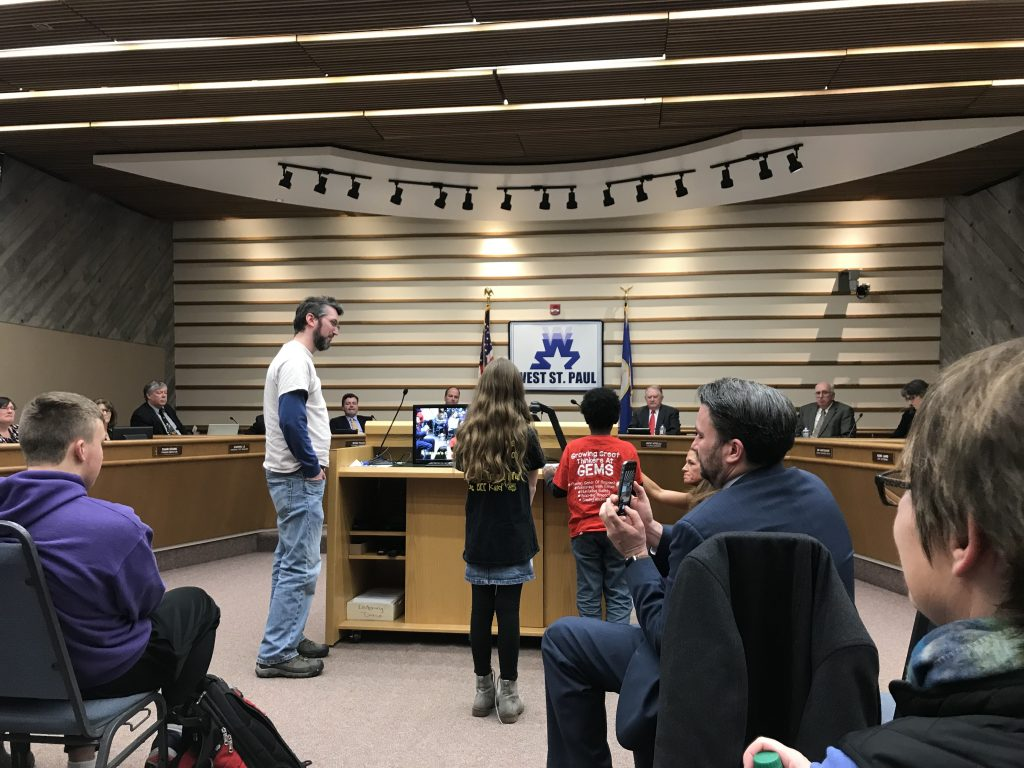 Milo speaking at the West St. Paul city council meeting