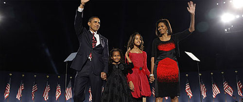 President Elect Barack Obama and his family at Grant Park in Chicago
