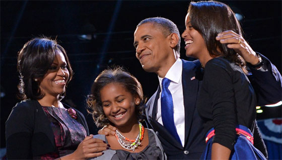 Obama family at 2012 election night acceptance speech