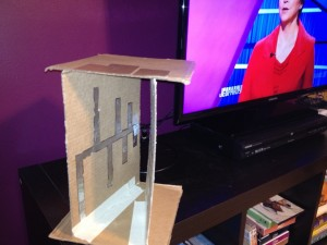 Antenna built from cardboard and tin foil