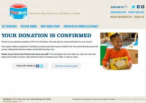 Screenshot of donation confirmation page on First Book's site.