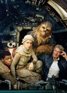Han Solo, Chewie, Rey, BB8 & Finn.
