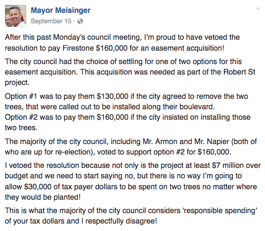 Mayor Meisinger's Facebook post revealing details from confidential negotiations of a Robert Street easement deal..