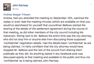John Ramsay Facebook post on Robert Street Easement settlement