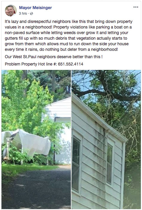 David Meisinger's property shaming post.