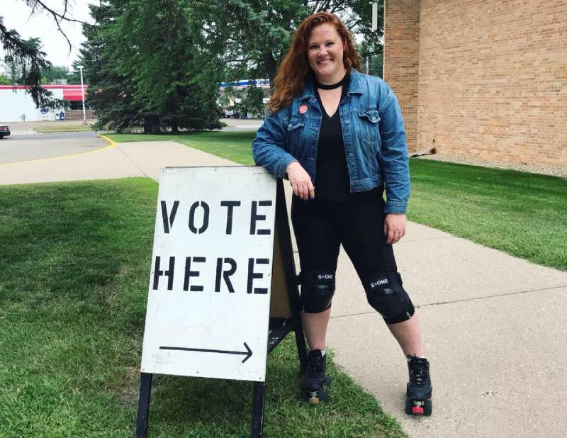 Lisa-Eng Sarne on her way to vote.