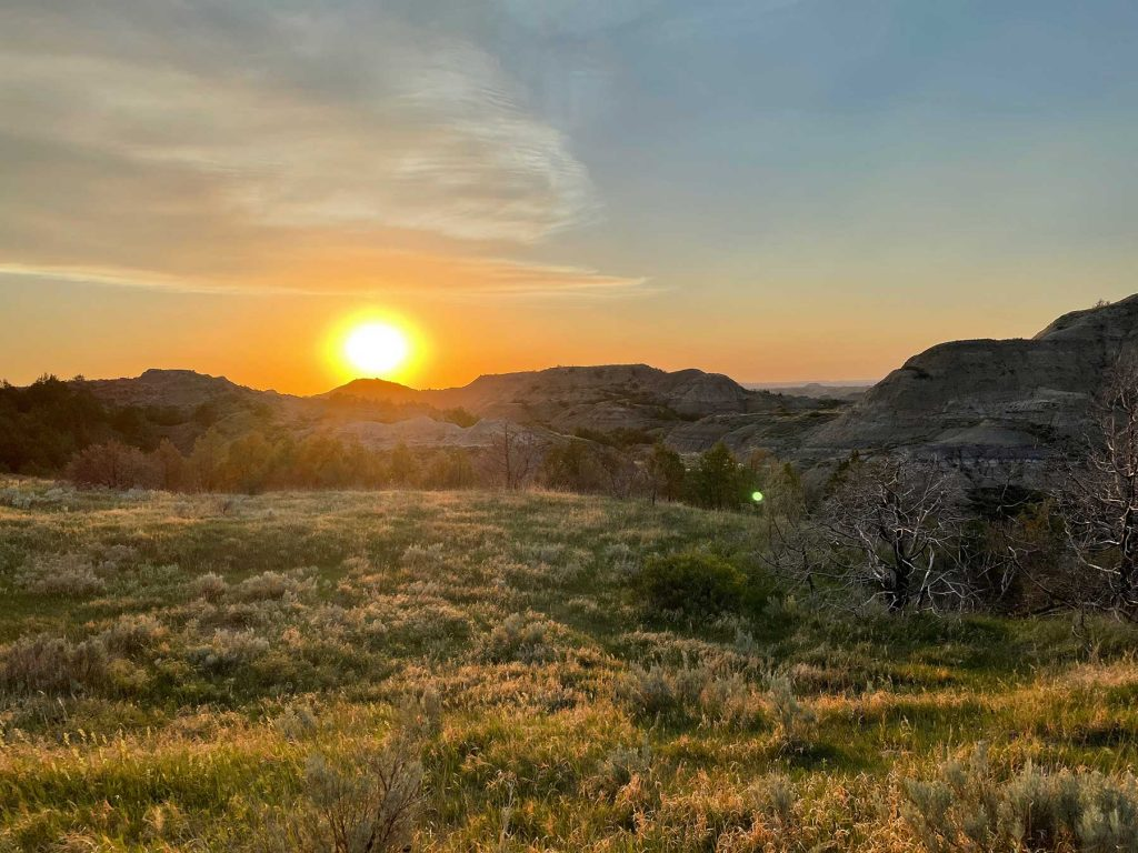 Sunset on the North Dakota badlands