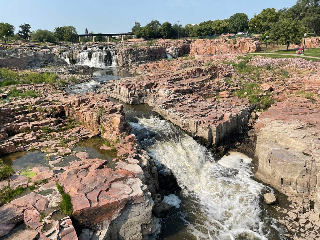 Falls Park with rocks and waterfalls